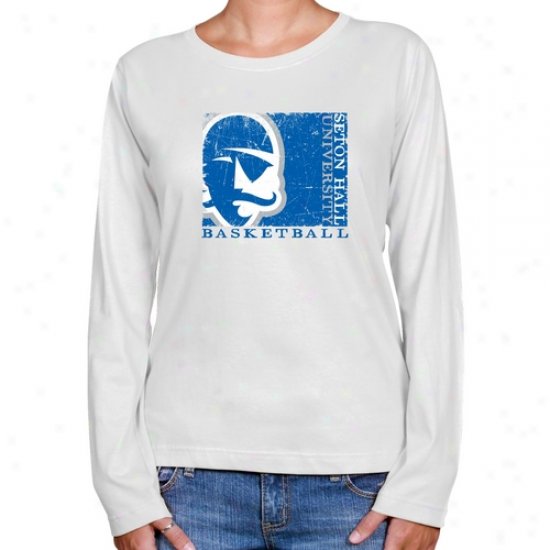 Seton Hall Pirates Ladies White Sport Make Long Sleeve Clzssic Fit T-shirt
