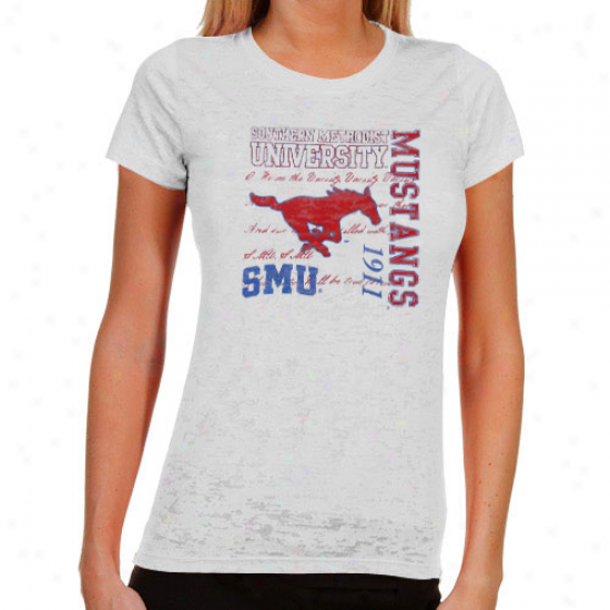 Smu Mustangs Ladies Fighting Pride Burnout T-shirt - White
