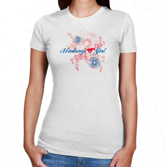 Smu Mustangw Ladoes White Floral Bloom Slim Fit T-shirt