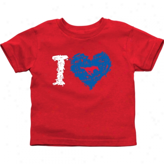 Smu Mustangs Toddler Iheart T-shirt - Red