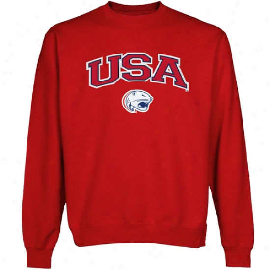 South Alabama Jaguars Logo Arch Applique Crew Neck Fleece Sweatshirt - Red