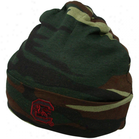 South Carolina Gamecocks Infant Green Camo Knit Beanie