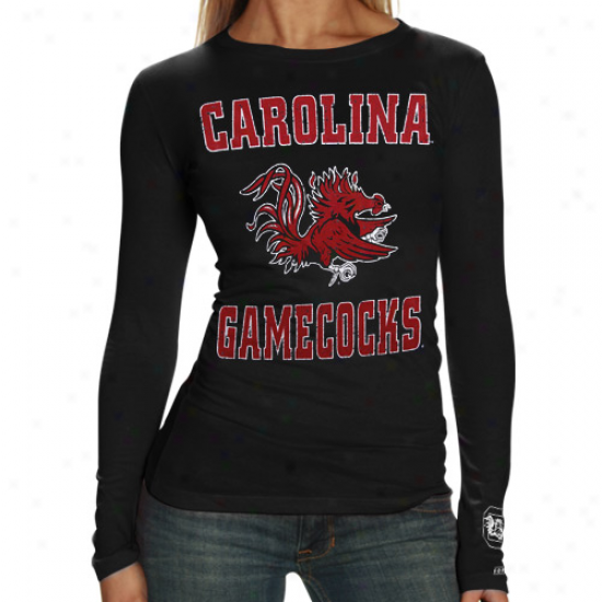 South Carolina Gamecocks Ladies Black Distressed University Long Sleeve T-shirt