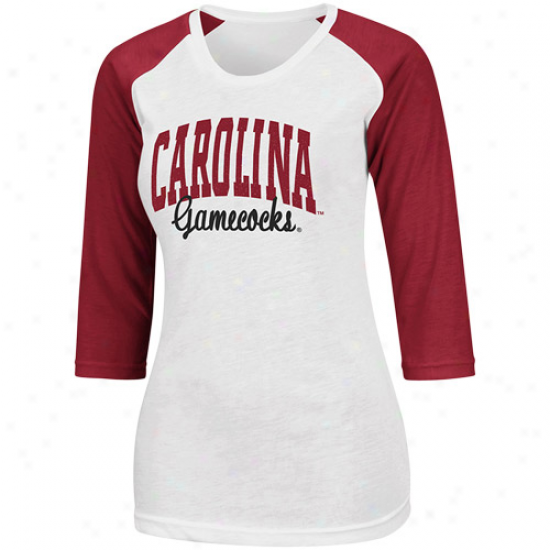 Southward Carolina Gamecocks Ladoes Glitter 3/4 Raglan Sleeve T-shirt - Wite/garnet