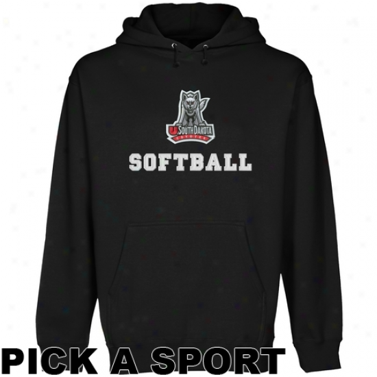South Dakota Coyotes Custom Sport Logo Applique Pullover Hoodie - Black