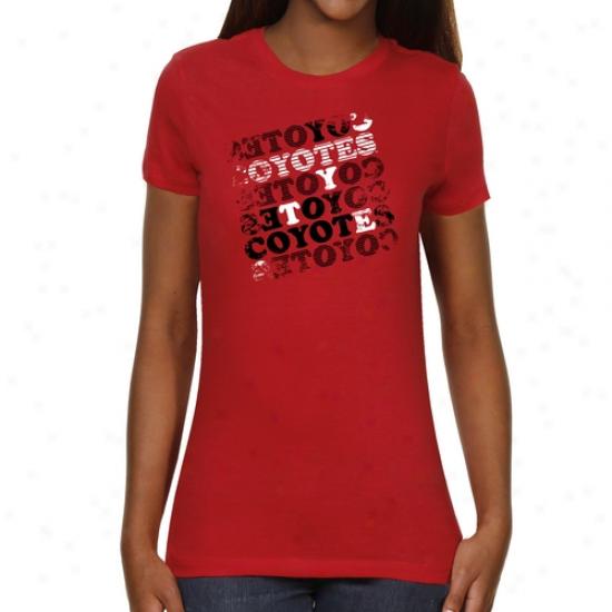 South Dakota Coyotes Ladies Crossword Slim Fit T-shirt - Red