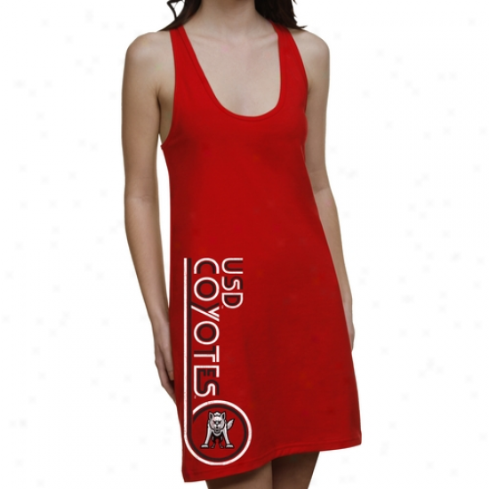 South Dakota Coyotes Ladies Retro Junior's Racerback Dress - Red
