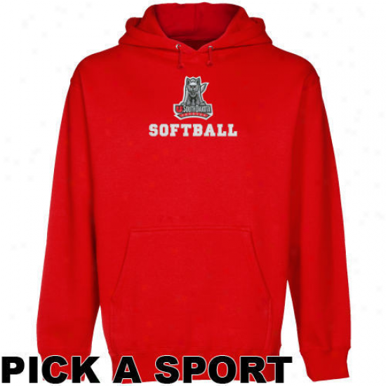 South Dakota Coyotees Red Custom Sport Logo Applique Midweight Pullover Hoody -