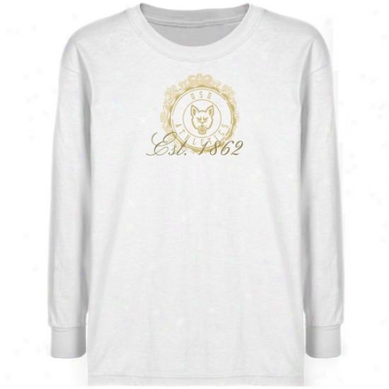 South Dakota Coyotes Youth White Da5e Stamp T-shirt