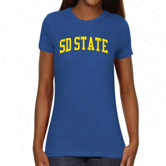 South Dakota State Jackrabbits Ladies Basic Arch Slight Fit T-shirt - Royal Blue