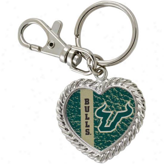 South Florida Bulls Silvertone Heart Keychain