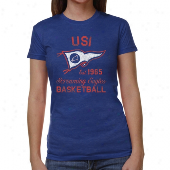 Southern Indiana Screaming Eagles Ladies Pennant Sport Junior's Tri-blend T-shirt - Royal Blue