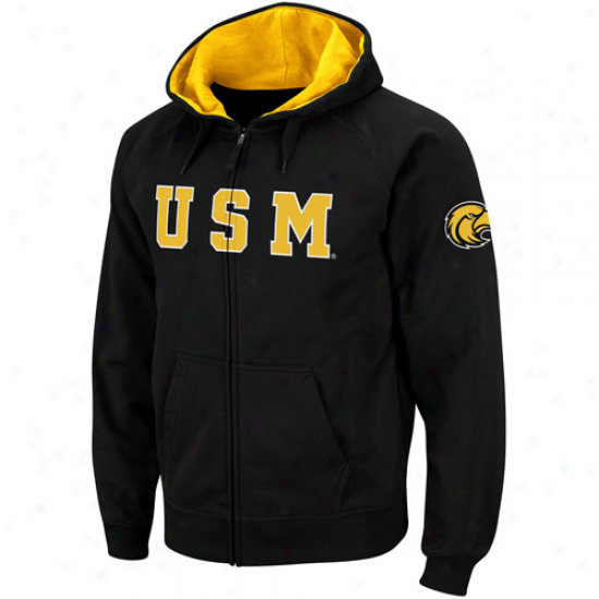 Southern Miss Golden Eagles Black Elegant Twill Ii Fulk Zip Hoodie Sweatshirt