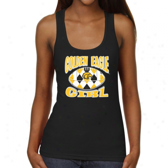 Southern Miss Golden Eagles Ladies Argyle Girl Junior's Ribbed Tank Summit - Black