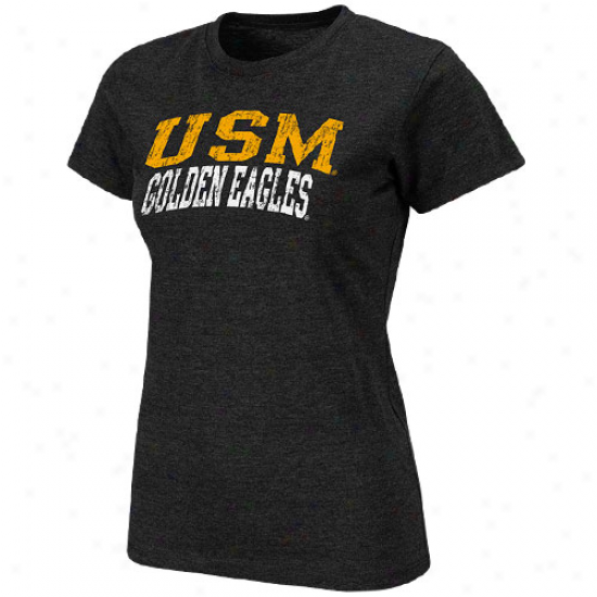 Southern Miss Golden Eagles Ladies Spartan Heathered T-shirt - Black