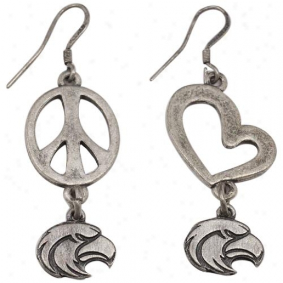 Southern Miss Golden Eagles Pewter Peace, Love Earrings