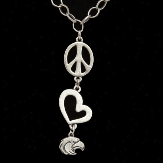 Southern Miss Golden Eagles Pewter Peace, Love Necklace