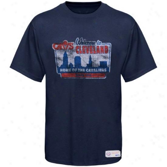 Sportiqe-espn Clrveland Cavaliers Navy Blue Billboard Distressed Premium T-shirt