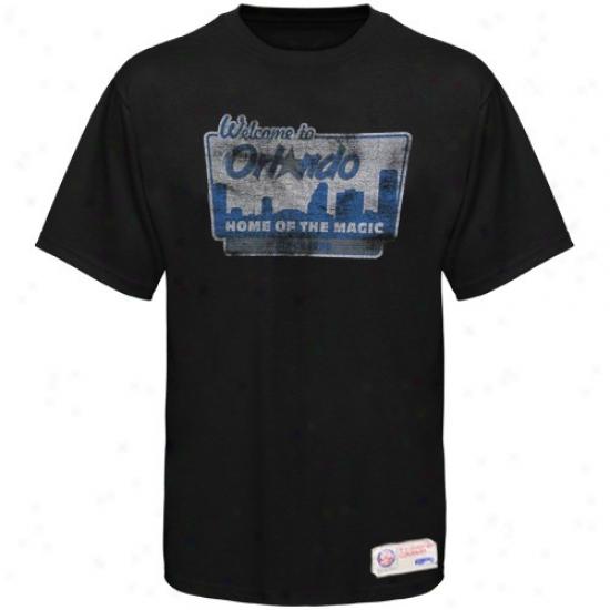 Sportiqe-espn Orlando Magic Black Billboard Distrressed Premium T-shirt