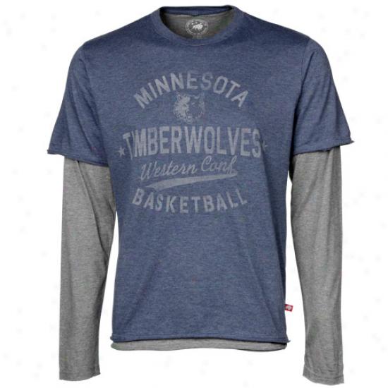 Sportiqe Minnesota Timberwolves Lol League T-shirt - Slate Blue-ash