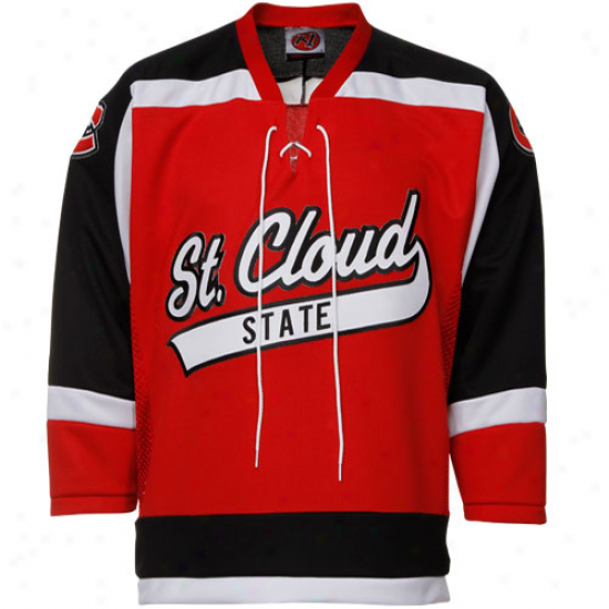 St. Cloud State Huskies Red Tackle Twill College Hockey Jersey