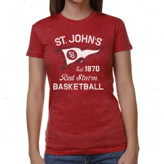 St. Johns Red Storm Ladies Pennant Sport Junior's Tri-blend T-shirt - Red