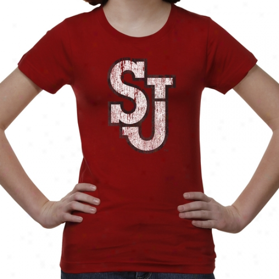 St. Johns Red Storm Youth Distressed Primary T-shirt - Red -
