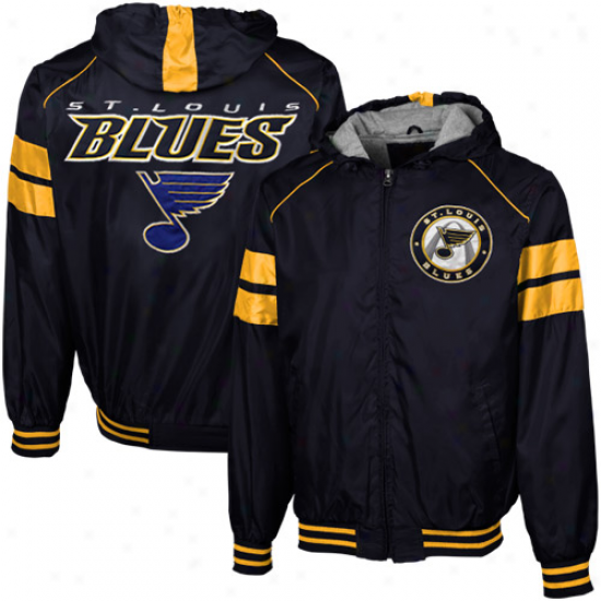 St. Louis Blues Navy Blue With a ~ Shot Full Zip Hooded Jacket
