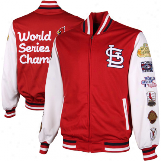St. Louis Cardinals 11x Earth Succession Champs Commemorative Full Zip Polyester Jacket - Red/white