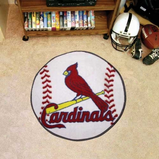 St. Louis Cardinals White Round Baseball Mat