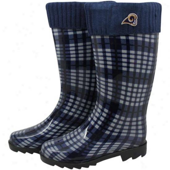 St. Louis Rams Ladies Navy Blue Plaid Cuffed Rain Boots