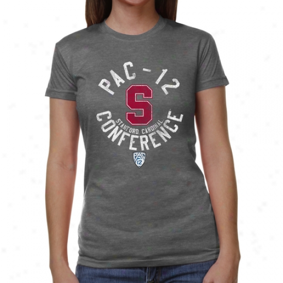 Stanford Cardinal Ladies Conference Stamp Tri-blend T-shirt - Ash