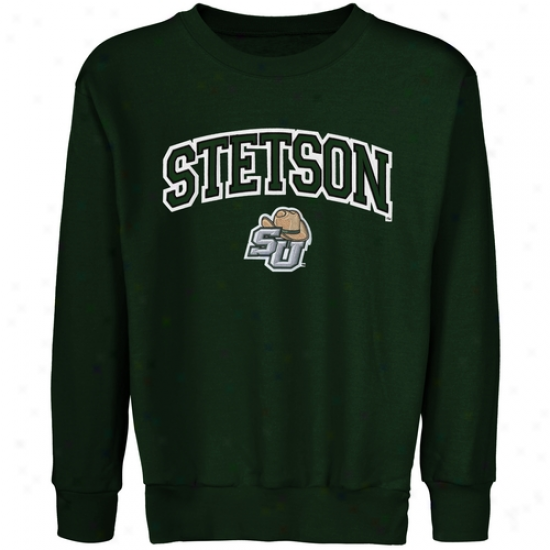 Stetson Hatters Youth Logo Arch Applique Crew Neck Fleece Sweatshirt - Green