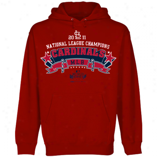 Stitches St. Louis Cardinals Red 2011 National League Champions Star Logo Pullover Hoodie Sweatshirt