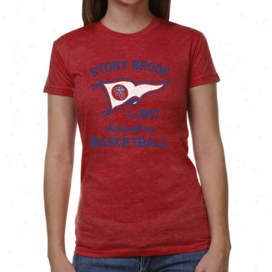 Stony Brook Seawolves Ladies Pennant Sport Junior's Tri-blemd T-shirt - Red