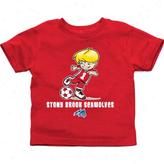 Stony Brook Seawolves Toddler Boys Soccer T-shirt - Red