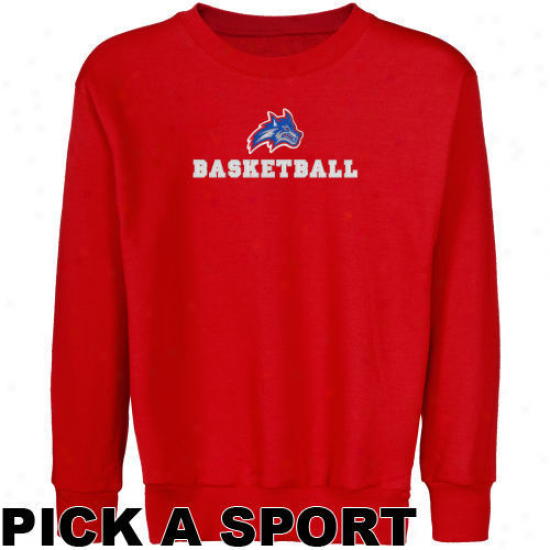 Stony Brook Seawolves Youth Red Custom Sport Logo Applique Crew Neck Fleece Sweatshirt -