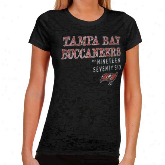 Tampa Bay Buccqneers Ladies Shotgun Shine Burnout T-shirt - Black