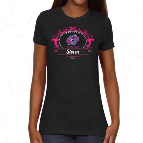 Tampa Bay Storm Ladies Paisleyball Slim Fit T-shirt - Black