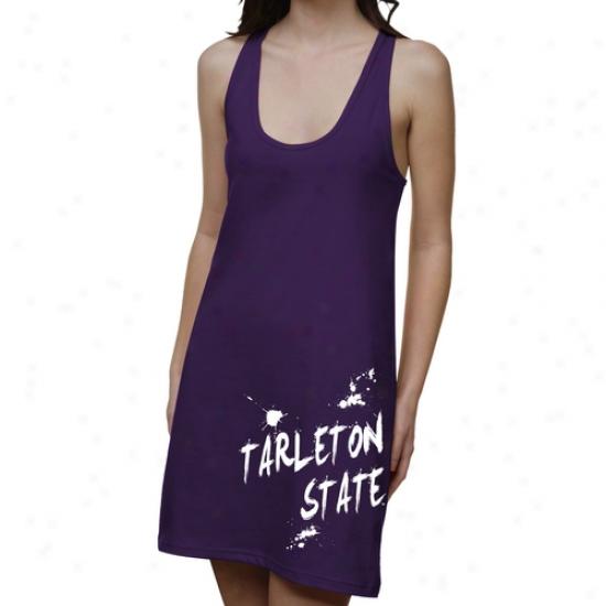 Tarleton State Texans Ladies Paint Strokes Junior's Racerback Dress - Purple