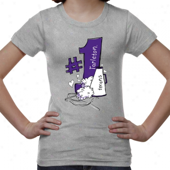 Tarleton Syate Texans Youth #1 Fan T-shirt - Ash
