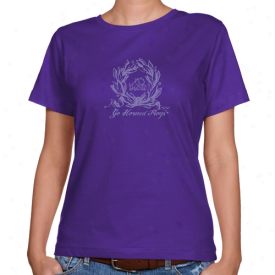 Tcu Horned Frogs Ladies Purple Ladies Wreth Classic Fit T-shirt