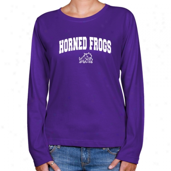 Tcu Horned Frogs Ladies Purple Logo Arch Llng Sleeve Claszic Fit Tee