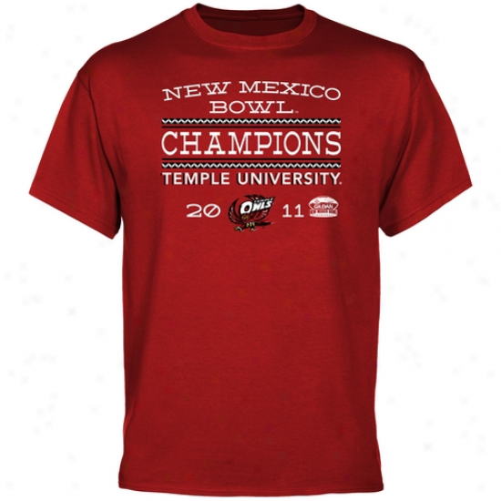 Temple Owls 2011 Gildan New Mexico Bowl Champions T-shirt - Cherry