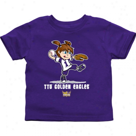 Tennessee Tech Golden Eagless Toddler Girls Softball T-shirt - Purple