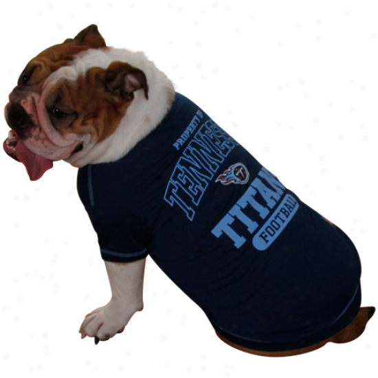 Tennessee Titans Football Property Pet T-shirt - Navy Blue