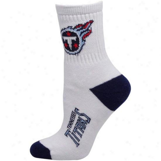 Tennessee Titans Womens Dual-color Team Logo Crew Socks - Whitte