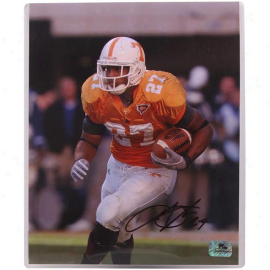Tennessee Volunteers #27 Arian Foster Autographed 8'' X 10'' Photograph ''rushing Downfield''
