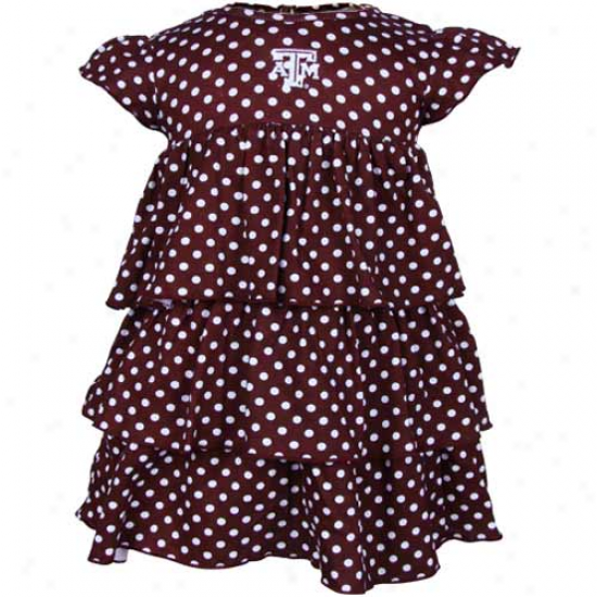 Texas A&m Aggies Infant Gjrls Maroon Polka Dot Natasha Dress & Bloomers Set