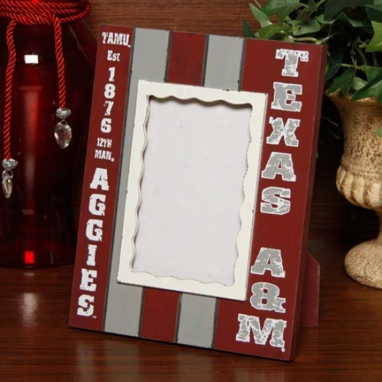 Texas A&mm Aggies Maroon-gray Striped Vertical Pkcture Frame